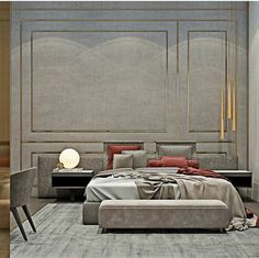We were tasked with creating a homely space that would entice and encourage owners. The master bedroom is decorated in pale tones according to the sweeping Manhattan views // Master Bedroom Interior, Modern Bedroom Design, Bed Design, Interior Design Living Room, Design Logo, Master Room, Contemporary Bedroom, Design Agency, Modern Contemporary
