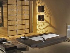 Japanese style bathroom, recessed bath by StarMeKitten