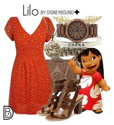 """""""Lilo +"""" by leslieakay ❤ liked on Polyvore featuring WeWood, T-shirt & Jeans, Jennifer Meyer Jewelry, disney and disneybound"""