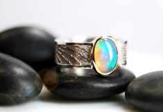 Opal ring in sterling silver and 14k gold by AnnealedHeart on Etsy, $300.00