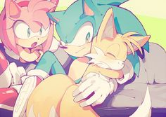 Ok, so, Amy and Sonic have a Boyfriend-Girlfriend relationship, and he and Tails have a Brotherly relationship. This is really cute!