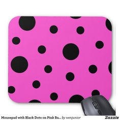 Mousepad with Black Dots on Pink Background