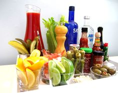 A well stocked Bloody Mary bar  http://octavia-brown.com/hello-brunch/
