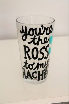 friends tv show, you're the ross to my rachel beer glass gift for boyfriend gift ross and rachel by astraychalet