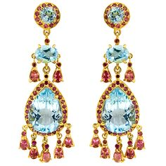 Butler and Wilson sterling silver earrings with blue topaz, tourmaline and citrine.