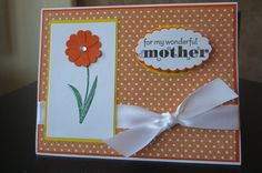 Happy Mothers Day or Birthday Orange and white by thepaperdivamum, $2.00