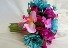 Bridal Bouquet Turquoise Hot Pink cruise weddings destination Wedding wedding-ideas