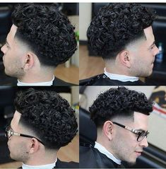 A imagem pode conter: 1 pessoa - Hair cuts - Cabelo Men Haircut Curly Hair, Curly Hair Taper, Taper Fade Curly Hair, Boys Curly Haircuts, Curly Hair Cuts, Haircuts For Men, Curly Hair Styles, Men's Hairstyle, Medium Hairstyles