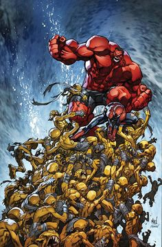 Joe Madureira - red Hulk and Spider-Man