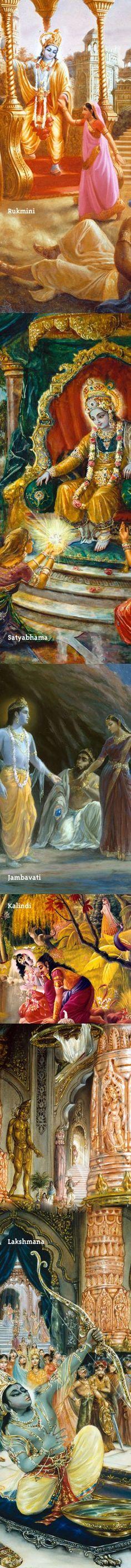 Wives of Lord Sri Krishna-http://www.krishnalilas.com/82-draupadi-meets-the-queens-of-krishna.htm