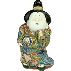 "Antique Edo Period Museum Quality 13"" Kutani-yaki 九谷焼 Porcelain Okimono or Statue of Okame- Otafuku, Signed; From The Many Faces of Japan! at @meredith2504 on Ruby Lane"