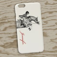 IPhone 6 case features artwork of a hunter jumper pony and rider done in black and white pointilism. Customize with your own name.
