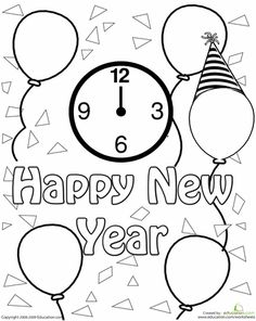 New Year Clock Celebration Coloring Page PagesColoring SheetsAdult ColoringColoring BooksColouringPreschool Worksheets FreeKid