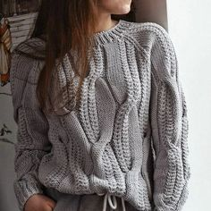 Knitted wool sweater light gray, Knitted clothing Jeans sweater Cable knit sweater Pullover Oversizes sweater Women's sweater Gift for her - Knitting Knitted Coat, Hand Knitted Sweaters, Cotton Sweater, Wool Sweaters, Handgestrickte Pullover, Crochet Poncho Patterns, Knitting Patterns, Knit Fashion, Hand Knitting