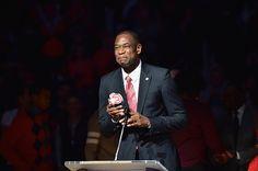 Former NBA Player and Hall of Famer Dikembe Mutombo gets his Atlanta Hawks Jersey retired during half time of the Boston Celtics vs Atlanta Hawks...