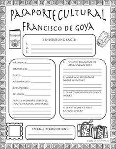 Pasaporte Cultural - Francisco de Goya by LA SECUNDARIA    Teachers Pay Teachers