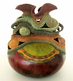 "Sue Yamins | ""Forest Hues"".  Coiled basket sculpture; woodburned/dyed gourd base"
