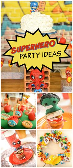 How fun is this superhero party? Lots of cute characters! See more party planning ideas at CatchMyParty.com!