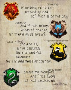 Harry Potter House Quotes - LOVE these! Especially the ones for Ravenclaw and Hufflepuff :]