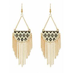 Crunchy Fashion Stylish Party Wear Aztec Tribal Earrings #Golden #Dangler #Party #Jewelry