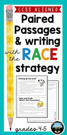 Do you teach writing with the RACE strategy? Check out this easy to use, no-prep packet of paired passages and writing prompts, perfect for the RACE strategy. Great for test prep and struggling writers! Races Writing Strategy, Race Writing, 4th Grade Writing, Writing Strategies, Writing Lessons, Teaching Writing, Writing Practice, Writing Prompts, Fourth Grade