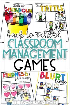 These back to school classroom management games are a fun way to get students learning and loving it! These activities are sure to inspire some great ideas for keeping kids on task and working hard. Click through to see the games included! Management Games, Classroom Management Tips, Classroom Organization, Behavior Management, Primary Classroom, School Classroom, Classroom Ideas, Future Classroom, Teaching Kindergarten