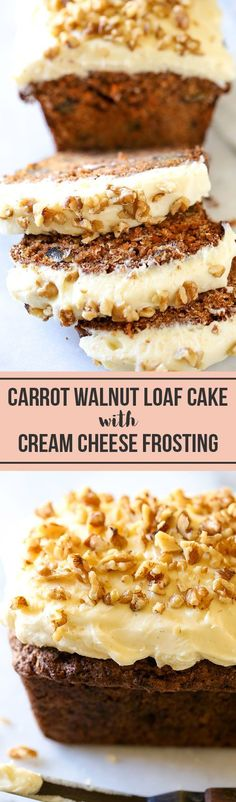 ***Carrot Walnut Loaf with Cream Cheese Frosting ~ the PERFECT recipe for spring baking! Even carrot haters love this! It's moist, tender, and bursting with flavor. Perfect for gifting, too! Carrot And Walnut Cake, Carrot Cake Loaf, Loaf Cake, Frosting For Carrot Cake, Carrot Bread Recipe Moist, Carrot Cakes, Loaf Recipes, Baking Recipes, Cake Recipes