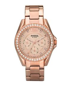 Happy Birthday to ME!!!  Fossil Women's Riley Rose Gold Plated Stainless Steel Bracelet