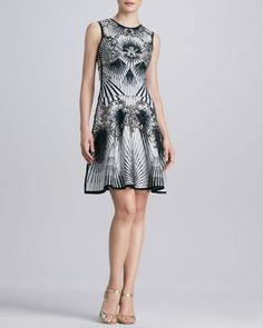 Beaded Printed Bandage Dress by Herve Leger at Neiman Marcus.