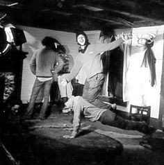 Behind the scene photo from Evil Dead 2 Dead By Dawn with Bruce Campbell and Sam Raimi