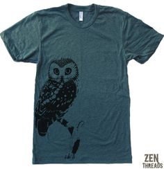 Mens URBAN OWL american apparel t shirt S M L XL (17 Colors Available) on Etsy, $18.00