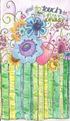 Its good to Touch the Green Grass by Lindsey O Strom; art journal ideas