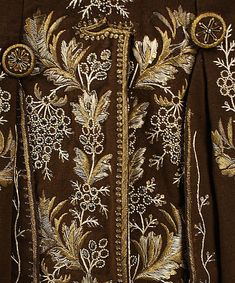 Detail of embroidery, Ensemble (man's coat & waistcoat) French, 1774-92, Metropolitan Museum of Art
