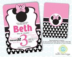 Minnie Mouse Birthday Invitation   2 sided by MasterPeaceDesigns, $7.00