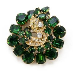 Vintage Weiss Dome Brooch in Emerald Green with by PinkAstilbe