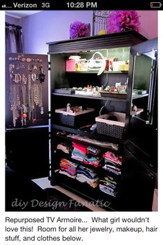 Old tv cabinet reused for all girly stuff.