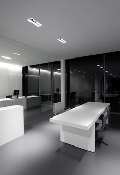 Clean white and grey office interior