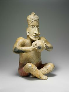 Seated Ballplayer Date: 1st century BCE–3rd century CE Mexico, Mesoamerica, Jalisco Culture: Ameca-Etzatlán Medium: Ceramic