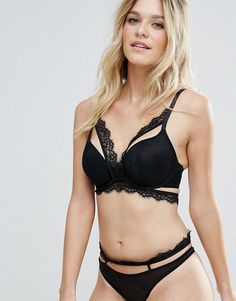 ASOS FULLER BUST Marilyn Lace Caged Molded Underwire Bra - Black