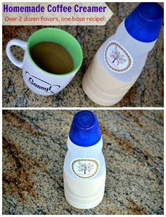 Homemade Coffee Creamer recipe - over 2 dozen flavors with one base recipe.  You'll never want to buy store bought creamer again!