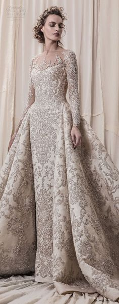 Long Sleeve Wedding Dress krikor jabotian spring 2018 bridal long sleeves scoop neck full embellishment glamorous princess ball gown a line wedding dress sheer button back royal train (04) lv