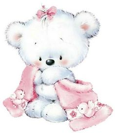 Adorable Baby Girl Teddy Bear with Her Blankie. Tatty Teddy, Cute Images, Cute Pictures, Baby Motiv, Decoupage, Baby Animals, Cute Animals, Blue Nose Friends, Cute Clipart