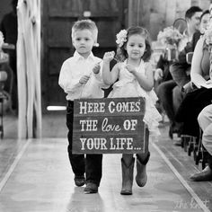 Wooden Here Comes The Bride Sign #ringbearer #flowergirl #toocute