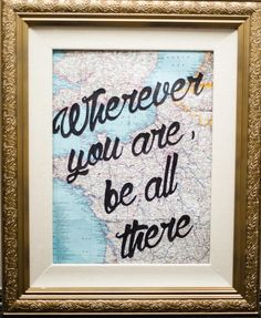 I would love to do something like this for the travel room in our new house. Great tutorial from Dwell Beautiful! Map Crafts, Frame Crafts, Quote Crafts, Canvas Crafts, Diy Frame, Dyi, Easy Diy, Map Globe, Framed Quotes