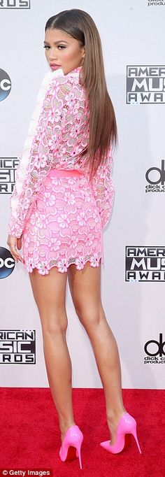 Putting in the leg work! The Disney Channel starlet showed off her toned pins in the eye-catching mini dress, which she wore with bright pink pumps