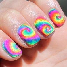 Hippie hipster rainbow nails nailart nailpolish cool preety