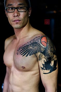Eagle for Winston - artwork and tattoo by Jamie - www.tattootemple.hk