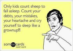 How an adult falls asleep at night.
