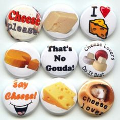 Cheese Lover pinback button set by Yesware11 on Etsy.. click for details!