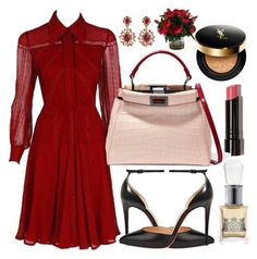 """Untitled #416"" by ngkhhuynstyle ❤ liked on Polyvore featuring Valentino, Christian Louboutin, Juicy Couture, Bobbi Brown Cosmetics, Fendi, Yves Saint Laurent and Oscar de la Renta"
